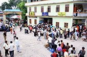 A long queue at the SNT bus terminus in Siliguri on Thursday.